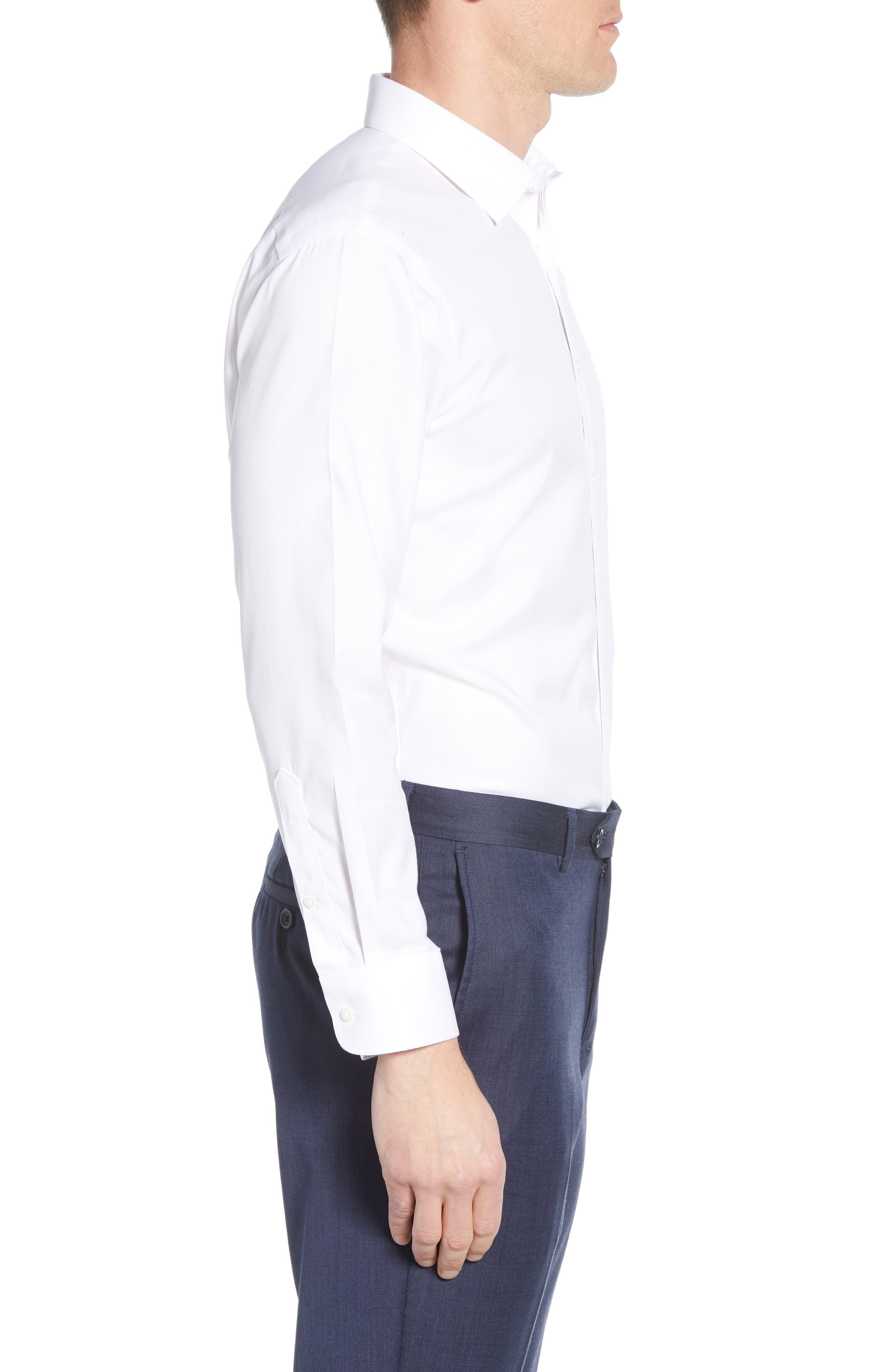 ,                             Smartcare<sup>™</sup> Trim Fit Solid Dress Shirt,                             Alternate thumbnail 4, color,                             WHITE BRILLIANT