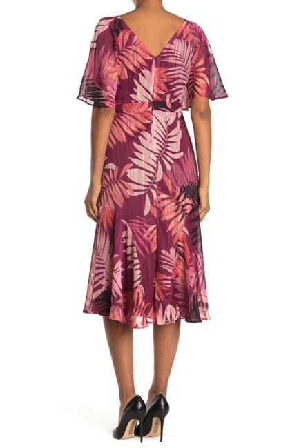 Image of Maggy London Tropical Print Flutter Sleeve Tea Length Dress