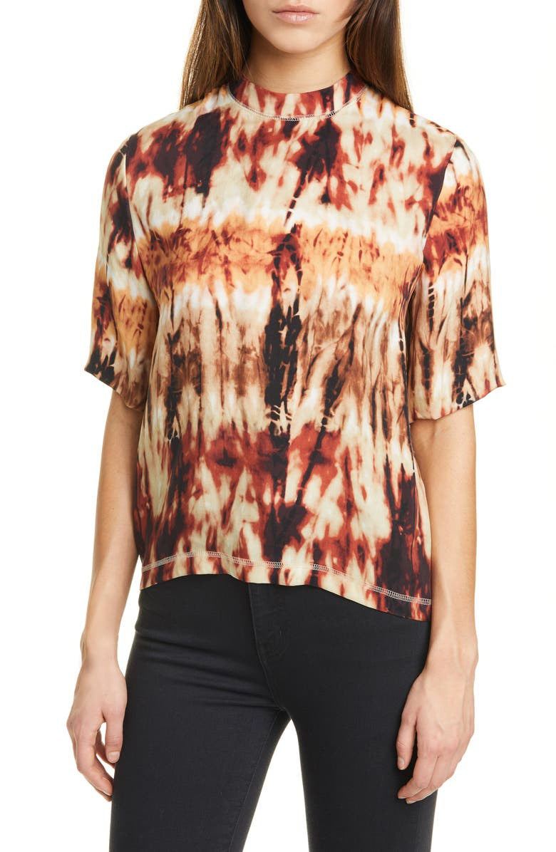 NANUSHKA Kaden Tie Dye Mock Neck Top, Main, color, TIE DYE PRINT