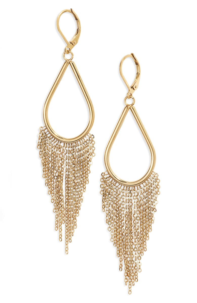 KNOTTY Chain Fringe Drop Earrings, Main, color, GOLD