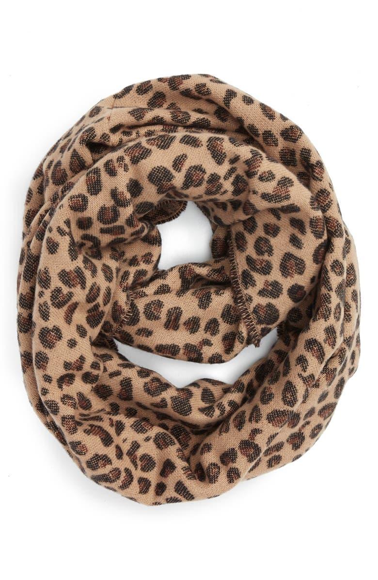 BP. Leopard Pattern Infinity Scarf, Main, color, 235