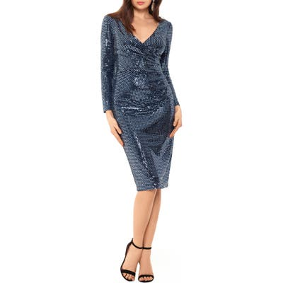 Betsy & Adam Holo Metallic Print Long Sleeve Knit Cocktail Dress, Blue
