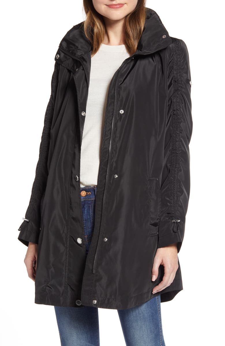VIA SPIGA Packable Hooded Raincoat, Main, color, BLACK