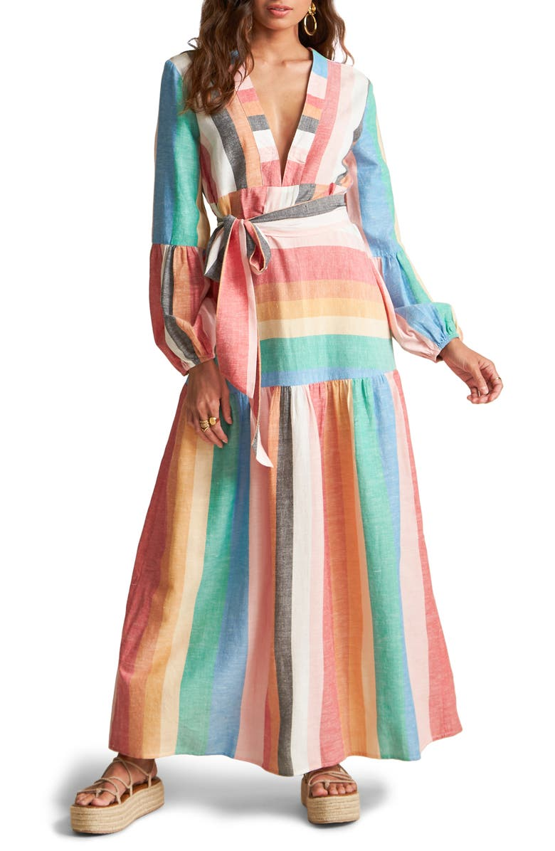 BILLABONG x Sincerely Jules Mix it Up Stripe Long Sleeve Maxi Dress, Main, color, MULTI