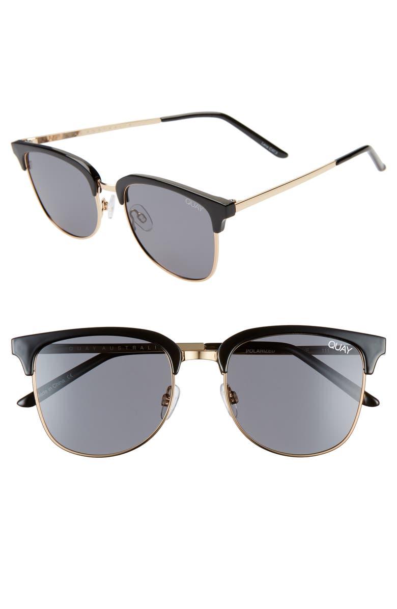 QUAY AUSTRALIA Evasive 53mm Polarized Sunglasses, Main, color, BLACK/ SMOKE