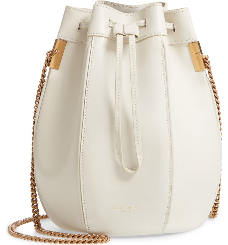 SAINT LAURENT Small Talitha Leather Bucket Bag, Main, color, CREMASOFT