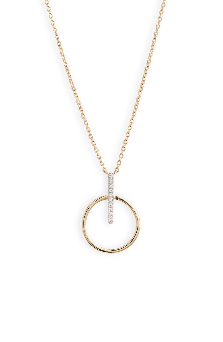 BONY LEVY Kiera Circle Drop Pendant Necklace, Main, color, YELLOW GOLD/ DIAMOND