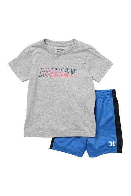 Image of Hurley On Short Graphic T-Shirt & Mesh Shorts Set
