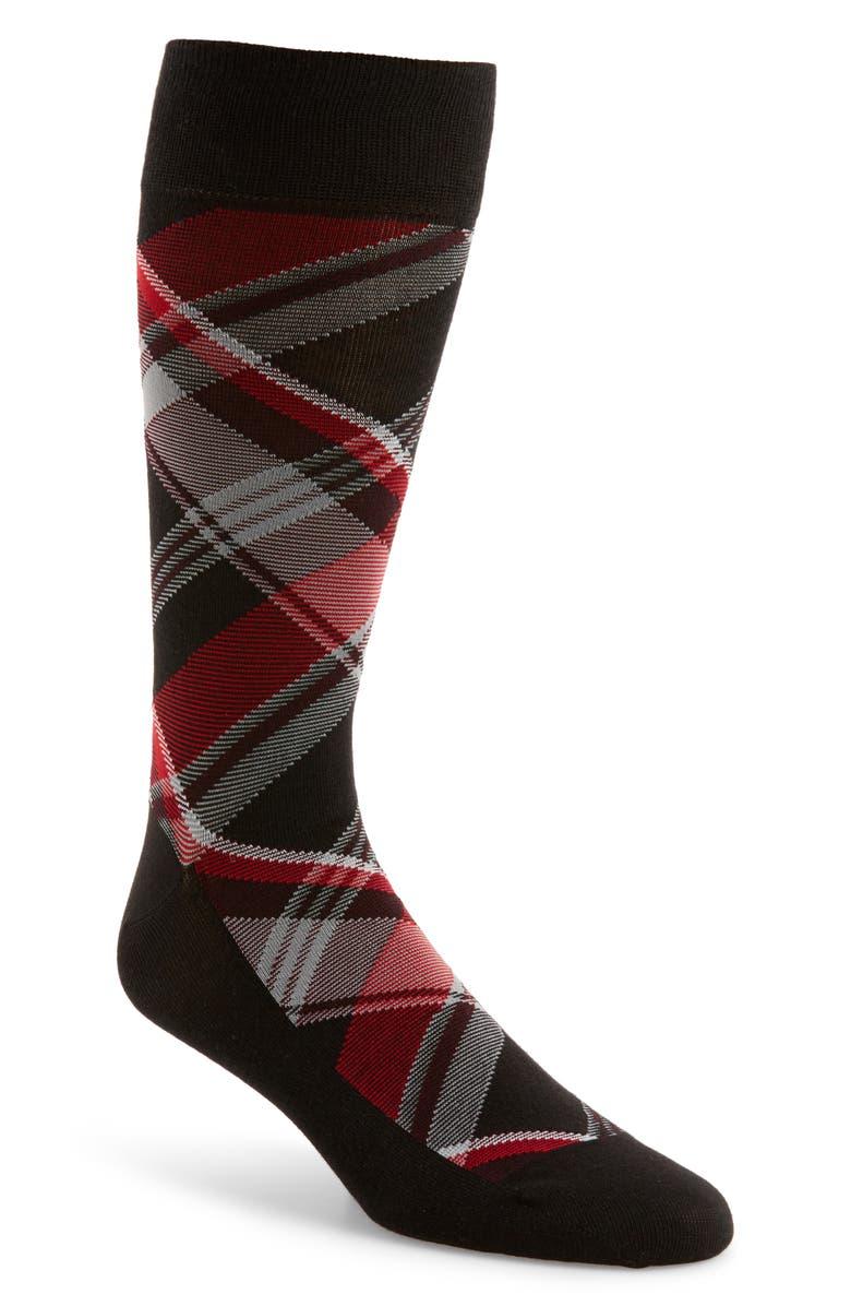 COLE HAAN Plaid Socks, Main, color, 001