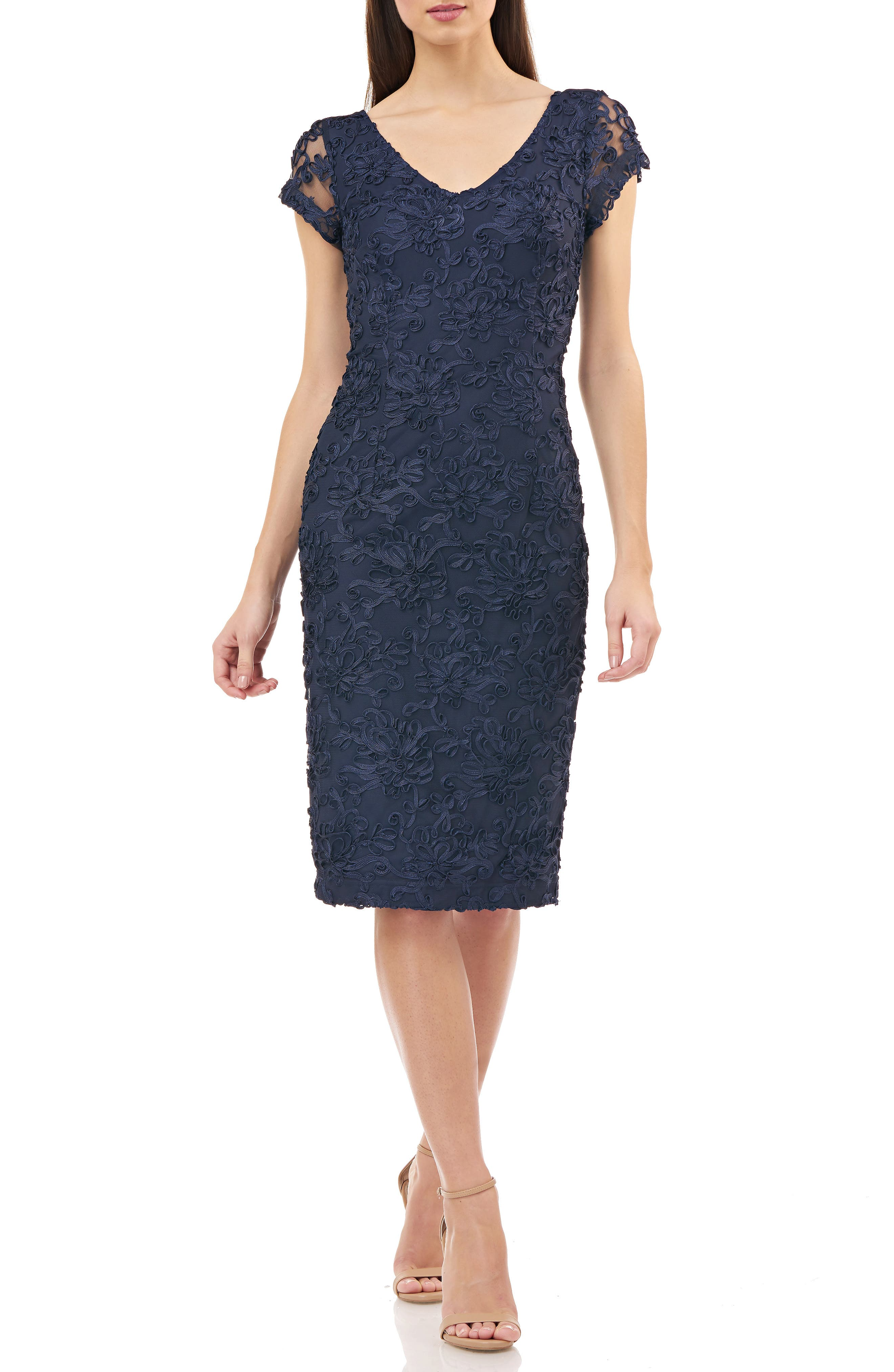 Js Collections Soutache Embroidered V-Neck Cocktail Dress, Blue