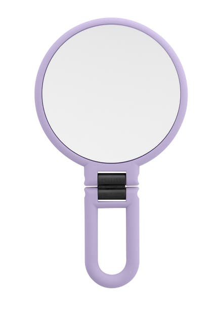 Image of UPPER CANADA SOAPS Danielle Soft Touch Hand Held Foldable Mirror - Lillac
