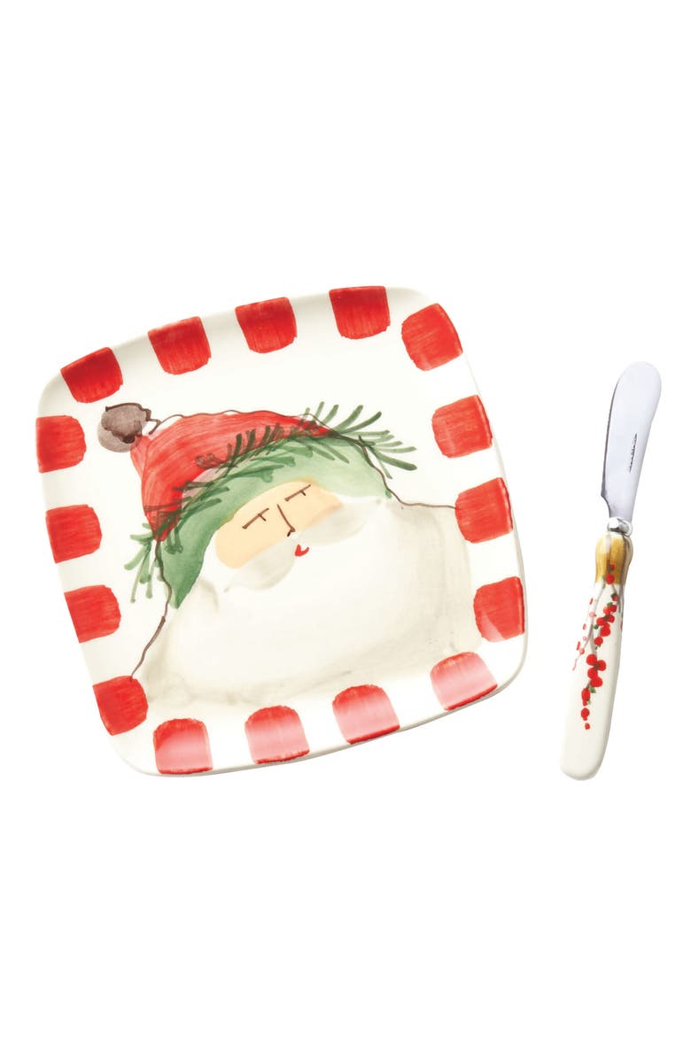 VIETRI Old St. Nick Square Plate with Spreader, Main, color, HAND PAINTED