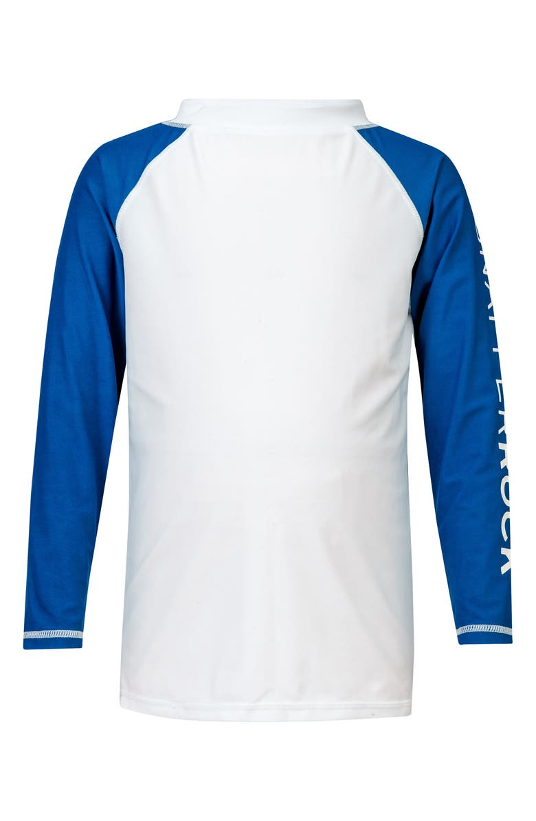 SNAPPER ROCK Contrast Long Sleeve Rashguard, Main, color, WHITE/ BLUE