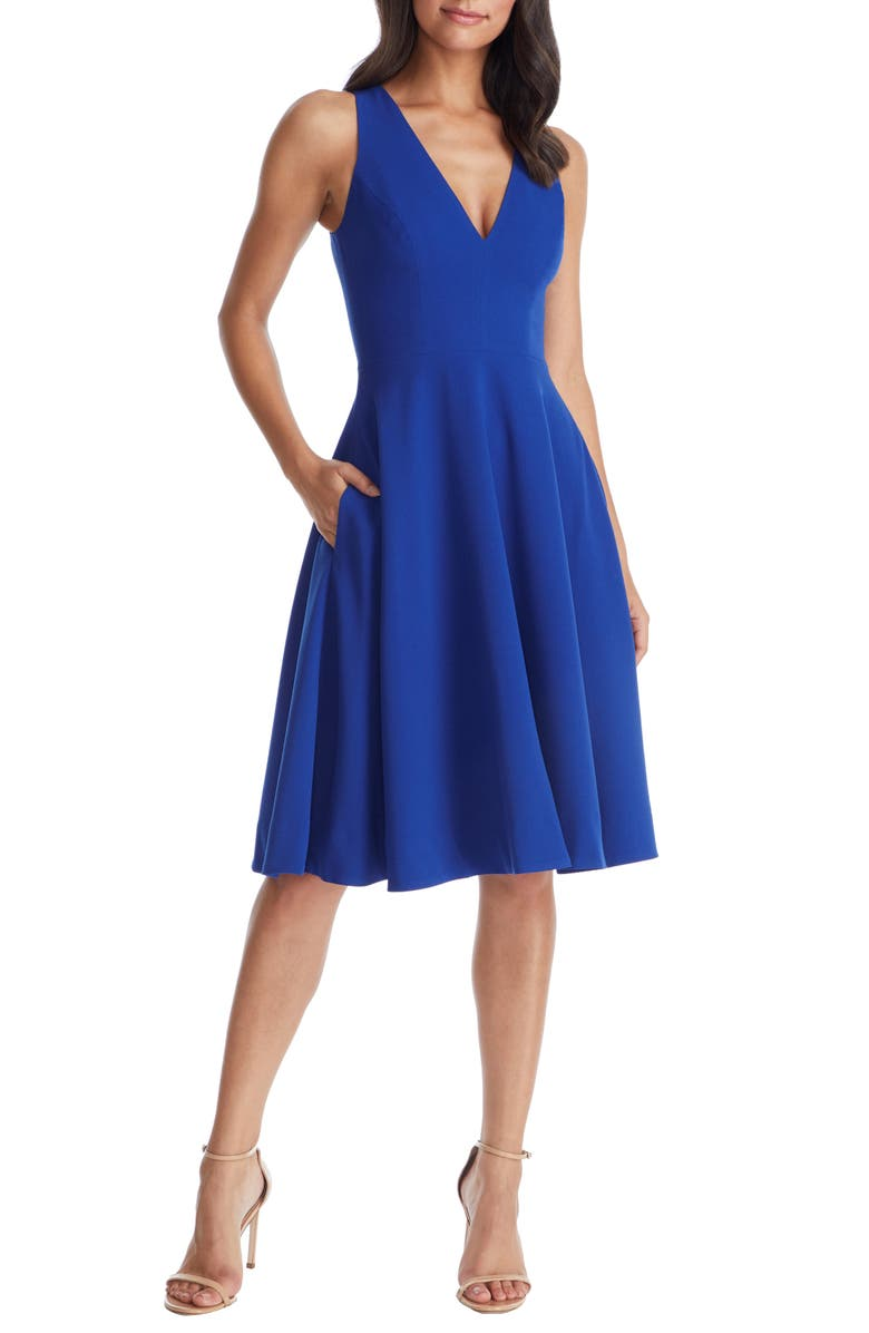 DRESS THE POPULATION Catalina Fit & Flare Cocktail Dress, Main, color, 410