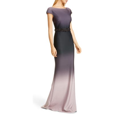 Badgley Mischka Embellished Ombre Gown, Pink