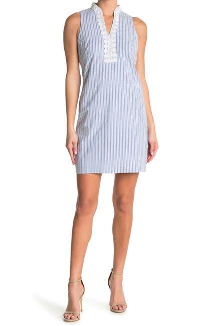 Image of London Times Scallop Split Neck Stripe Print Shift Dress