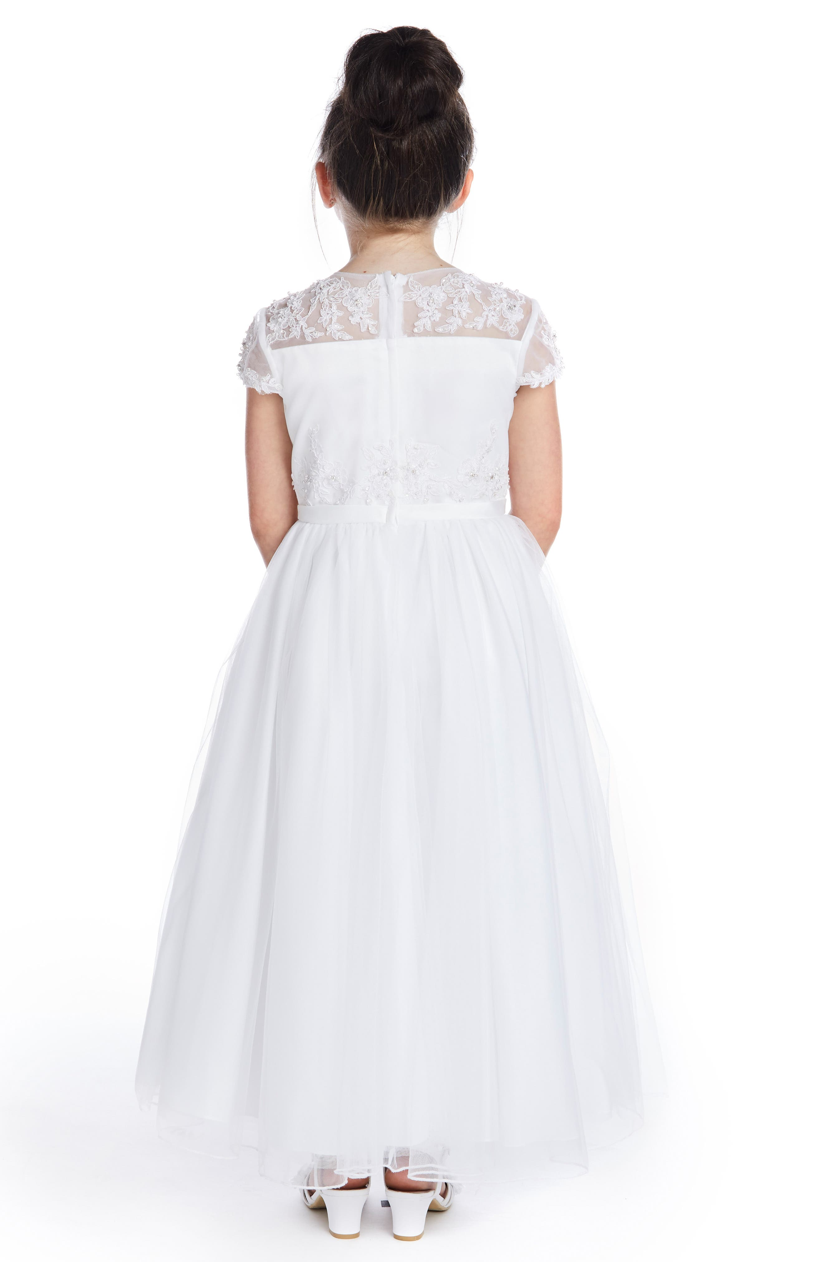 ,                             Beaded Lace Bodice First Communion Dress,                             Alternate thumbnail 2, color,                             WHITE