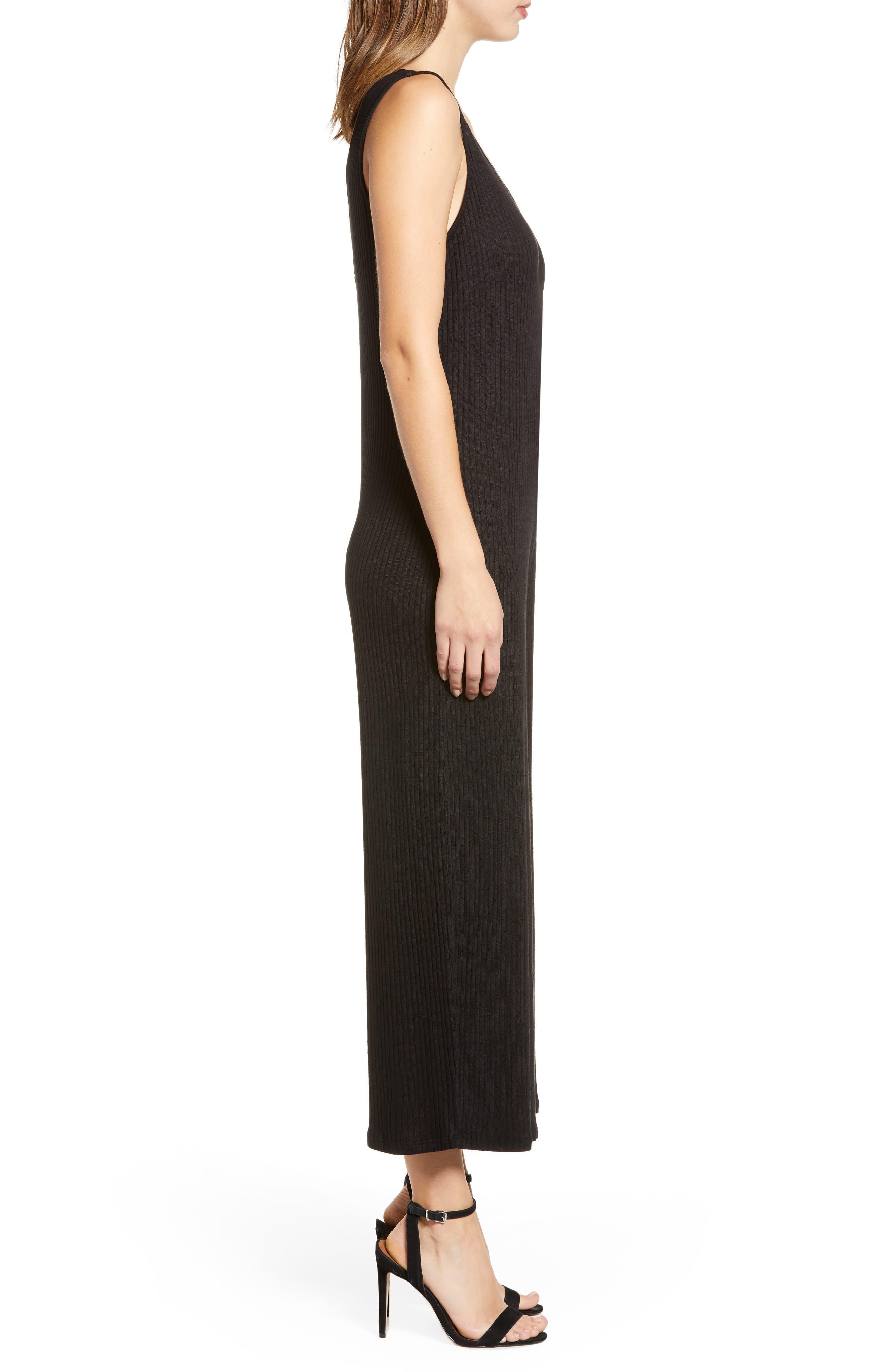 ,                             Ribbed Wide Leg Crop Jumpsuit,                             Alternate thumbnail 4, color,                             BLACK