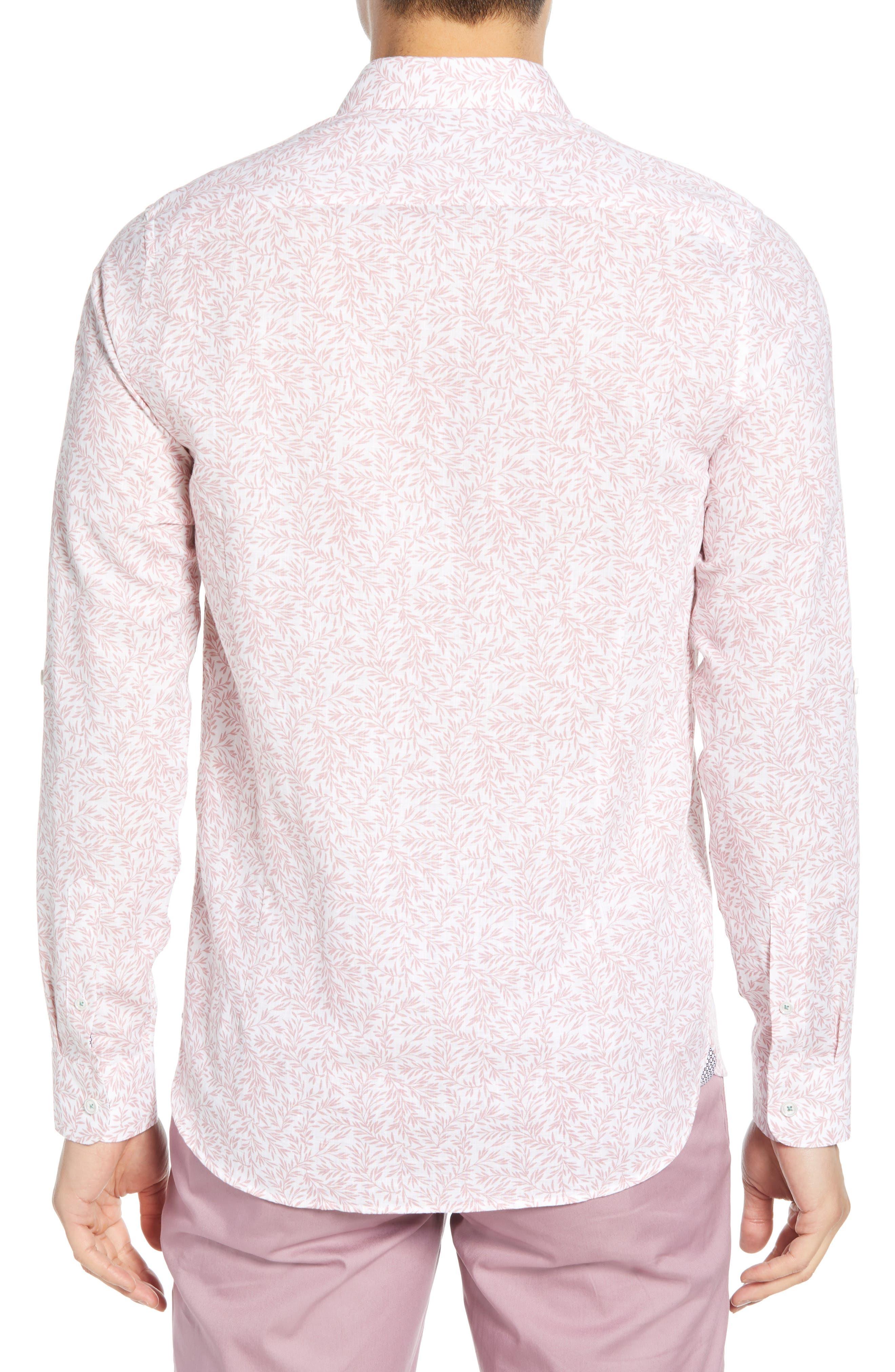 ,                             Leemar Slim Fit Floral Sport Shirt,                             Alternate thumbnail 3, color,                             PINK