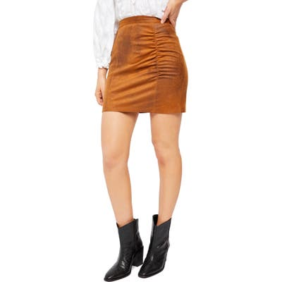 Free People Rumi Ruched Faux Leather Miniskirt, Brown