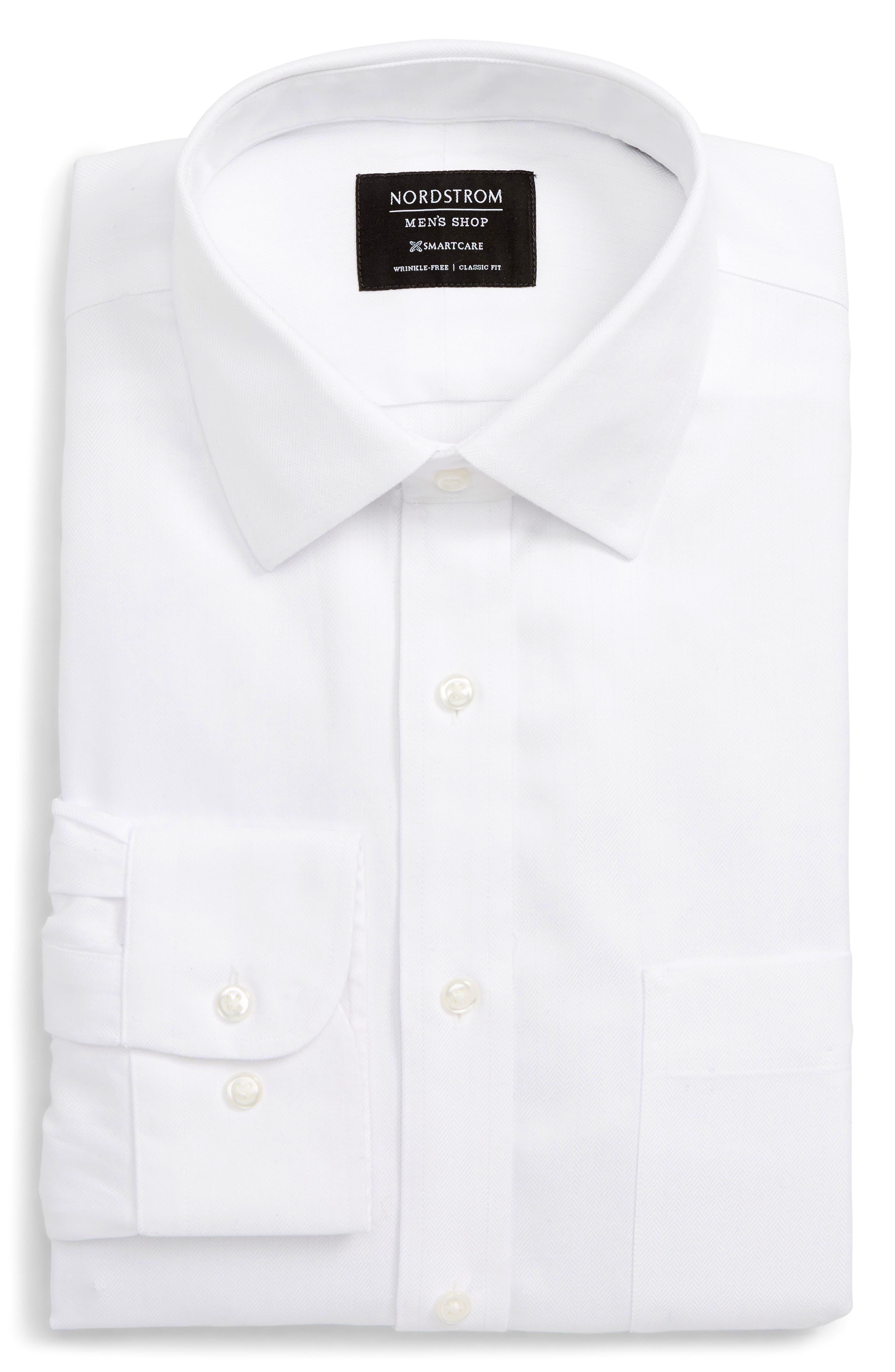 Smartcare<sup>™</sup> Classic Fit Herringbone Dress Shirt, Main, color, 100