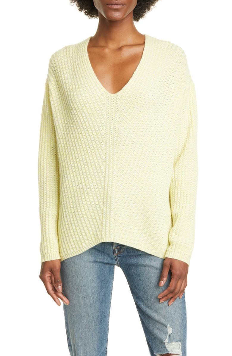 ALLUDE Rib Oversize Cashmere Sweater, Main, color, CHARTREUSE TWEED