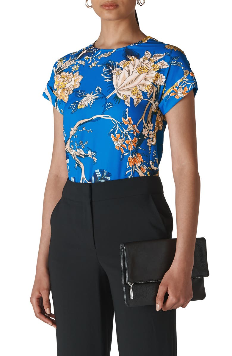 WHISTLES Exotic Floral Shell Top, Main, color, BLUE/ MULTI