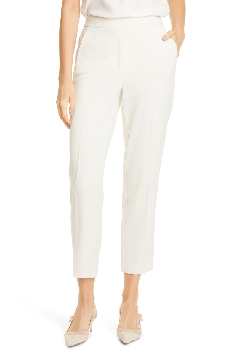 TAILORED BY REBECCA TAYLOR Flat Front Crepe Trousers, Main, color, 900