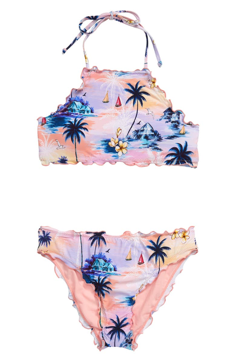 HOBIE Island Dream High Neck Hipster Two-Piece Swimsuit, Main, color, BLUE