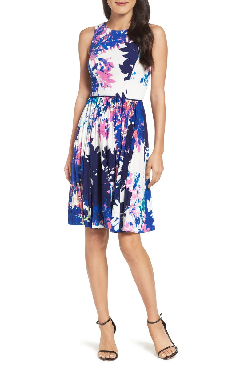 MAGGY LONDON Stretch Fit & Flare Dress, Main, color, 695