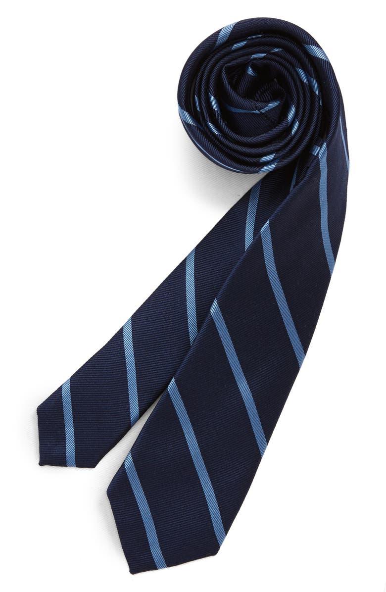 NORDSTROM Pedro Stripe Silk Tie, Main, color, NAVY