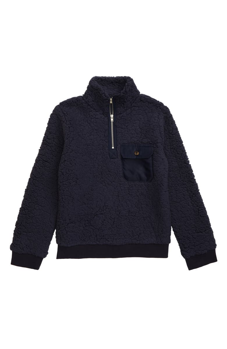 TUCKER + TATE Teddy Quarter Zip Fleece Pullover, Main, color, NAVY CHARCOAL