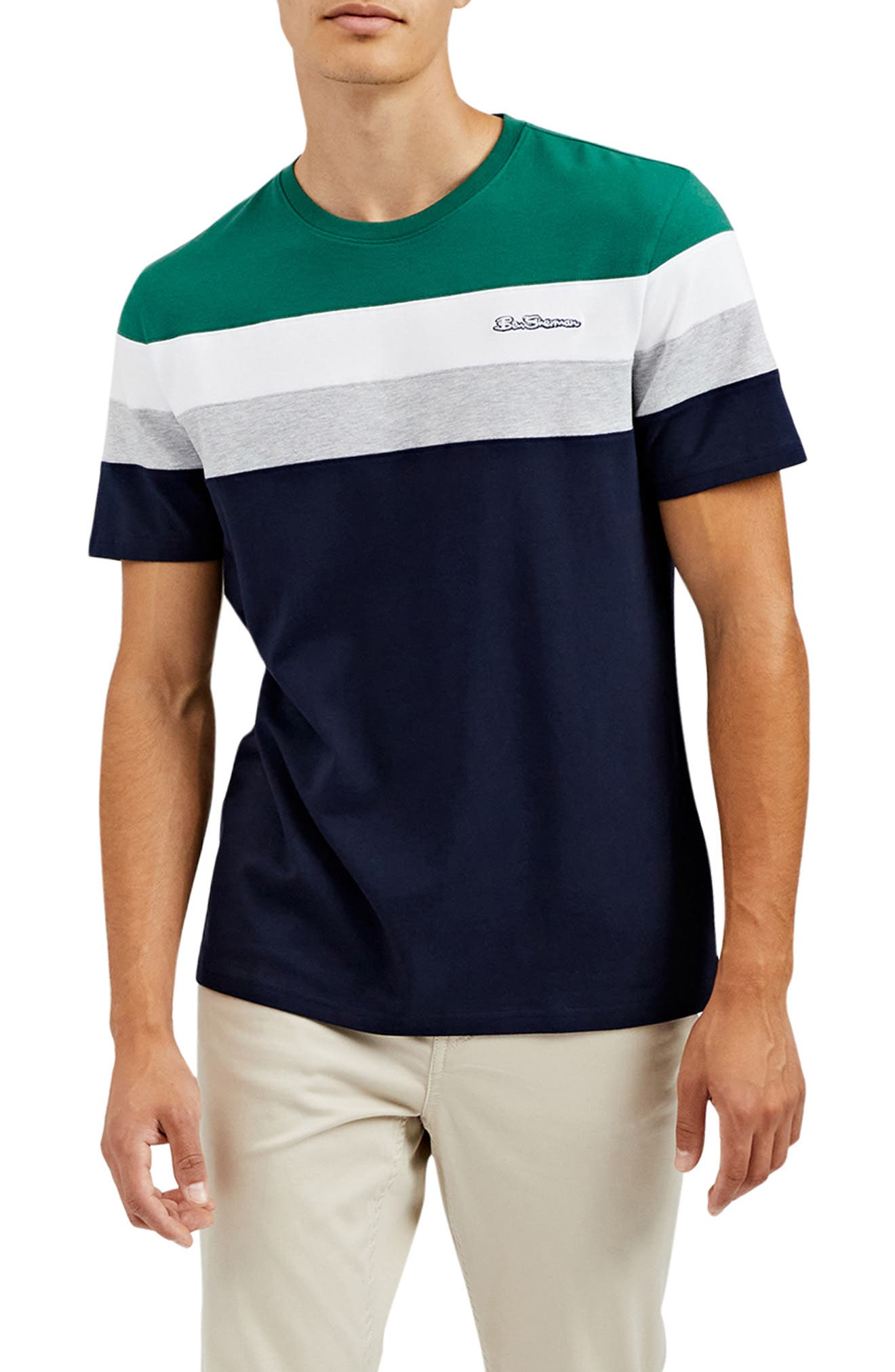 Colorblock Stripe Stretch Cotton T-Shirt