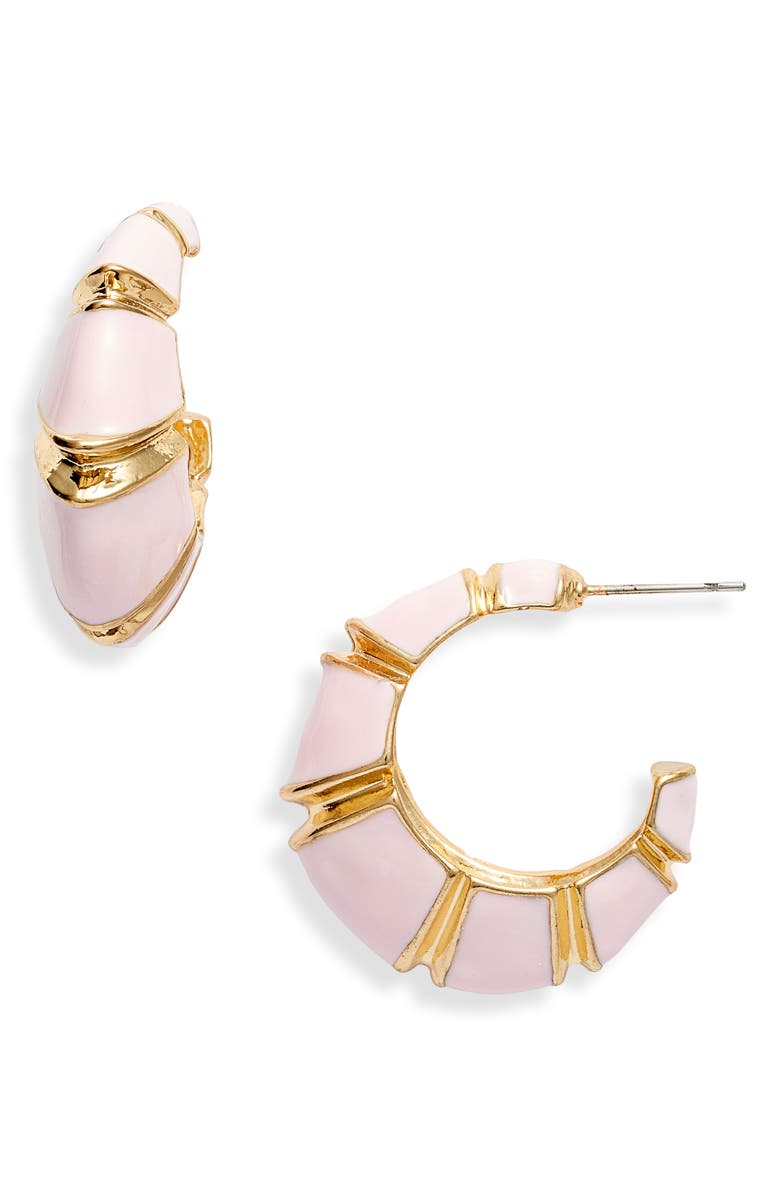 8 OTHER REASONS x Jill Jacobs Leona Hoop Earrings, Main, color, GOLD/ PINK