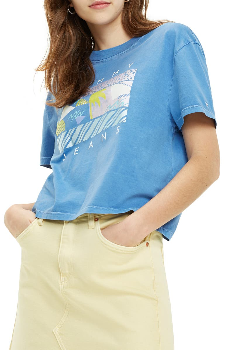 TOMMY JEANS TJW Summer Surf Flag Graphic Crop Tee, Main, color, REGATTA