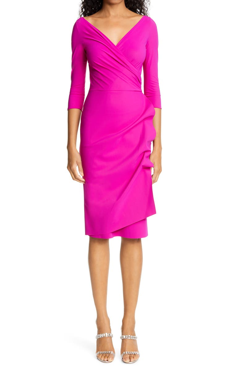 CHIARA BONI LA PETITE ROBE Florien Ruched Cocktail Dress, Main, color, CYCLAMEN