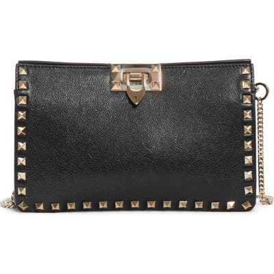 Valentino Garavani Rockstud Leather Clutch - Black