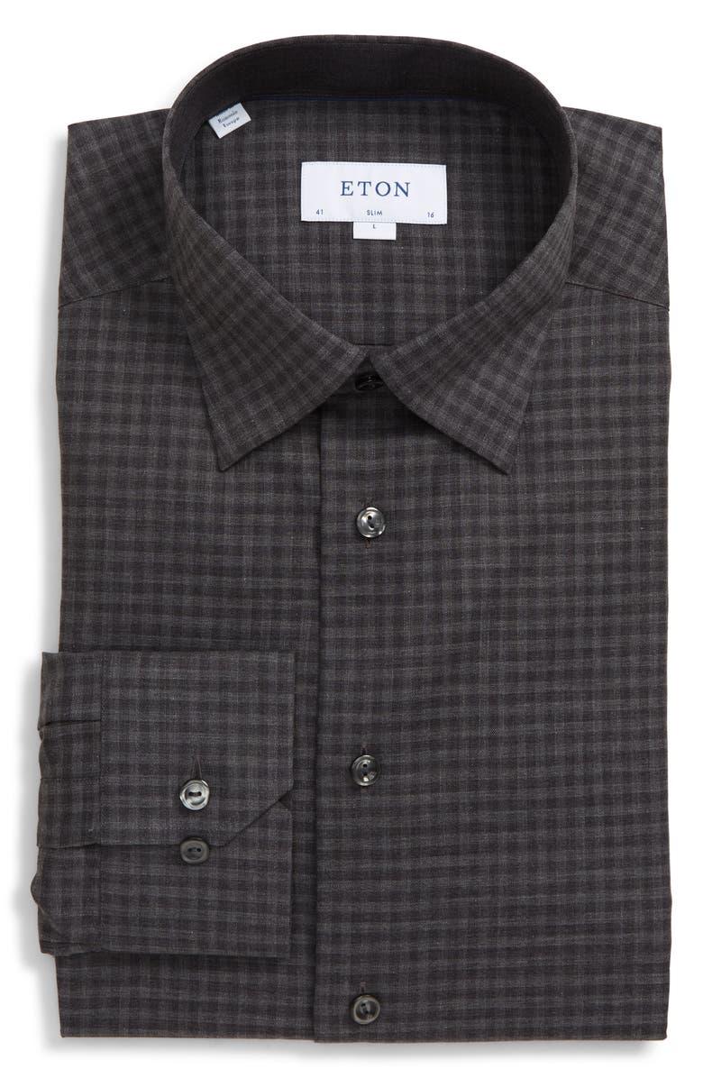 ETON Slim Fit Check Dress Shirt, Main, color, GREY