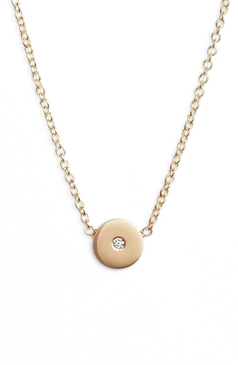 ZOË CHICCO Medium Diamond Disc Pendant, Main, color, YELLOW GOLD