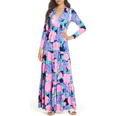Lilly Pulitzer Martinique Long Sleeve Maxi Dress, Blue