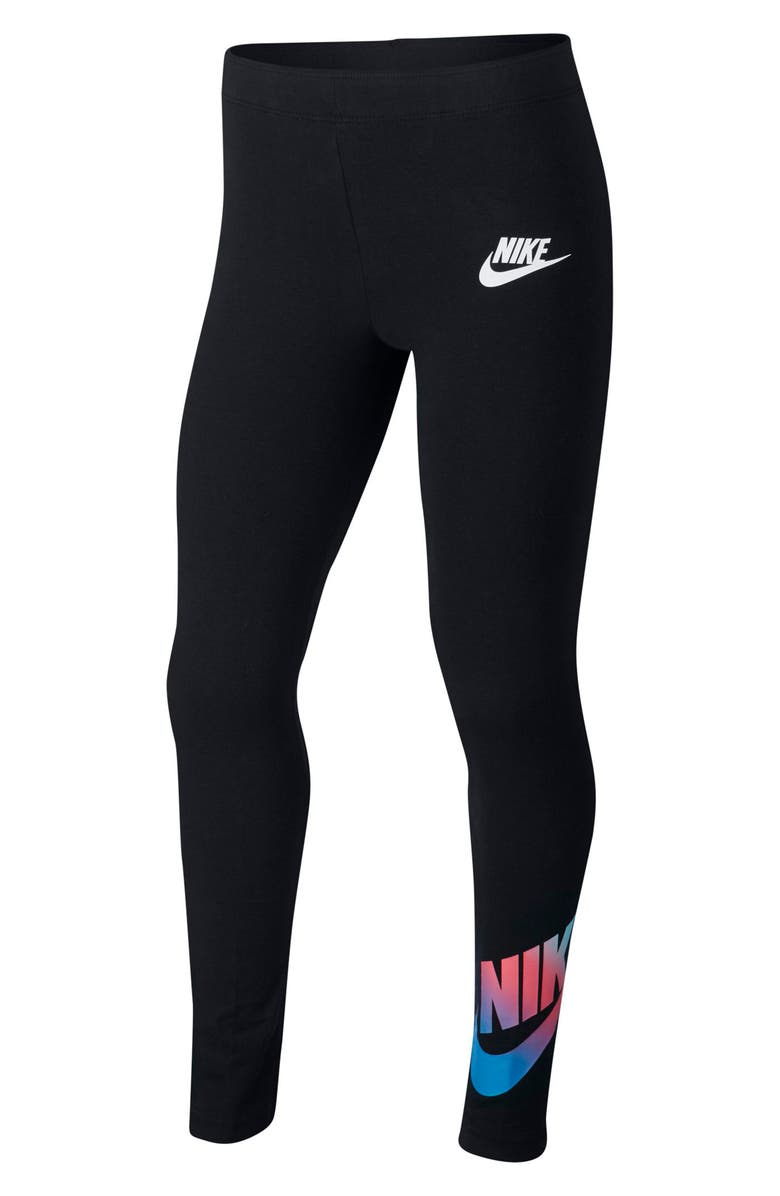 NIKE Sportswear Logo Favorite Leggings, Main, color, BLACK/ WHITE