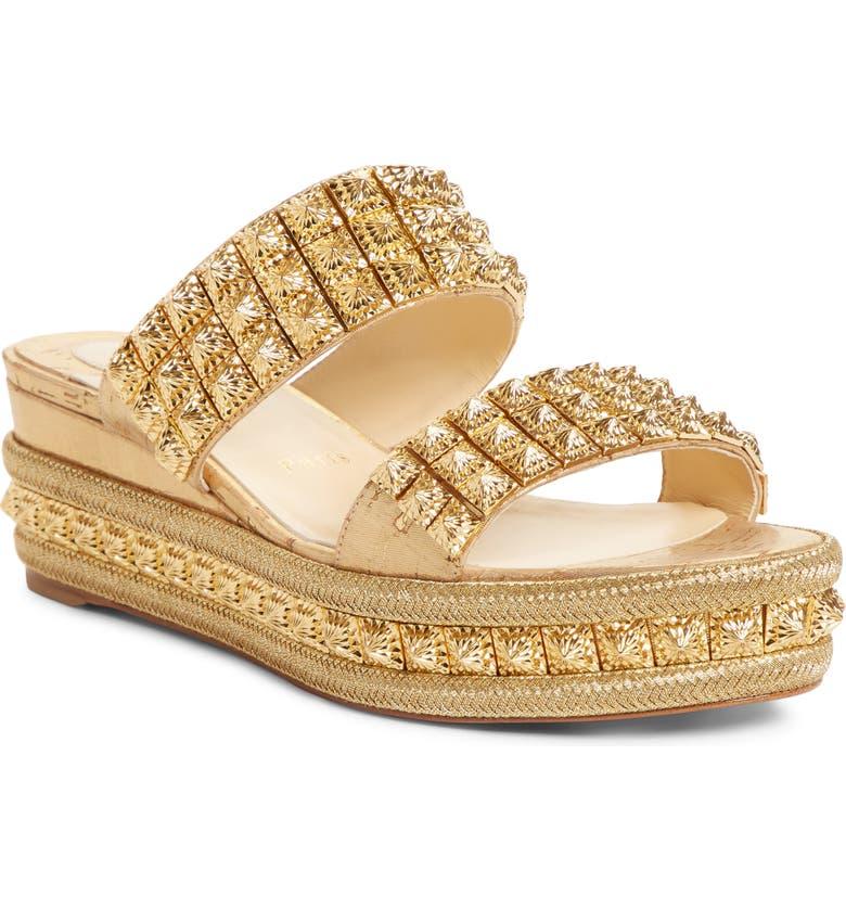 CHRISTIAN LOUBOUTIN Ecu Wedge Slide Sandal, Main, color, GOLD