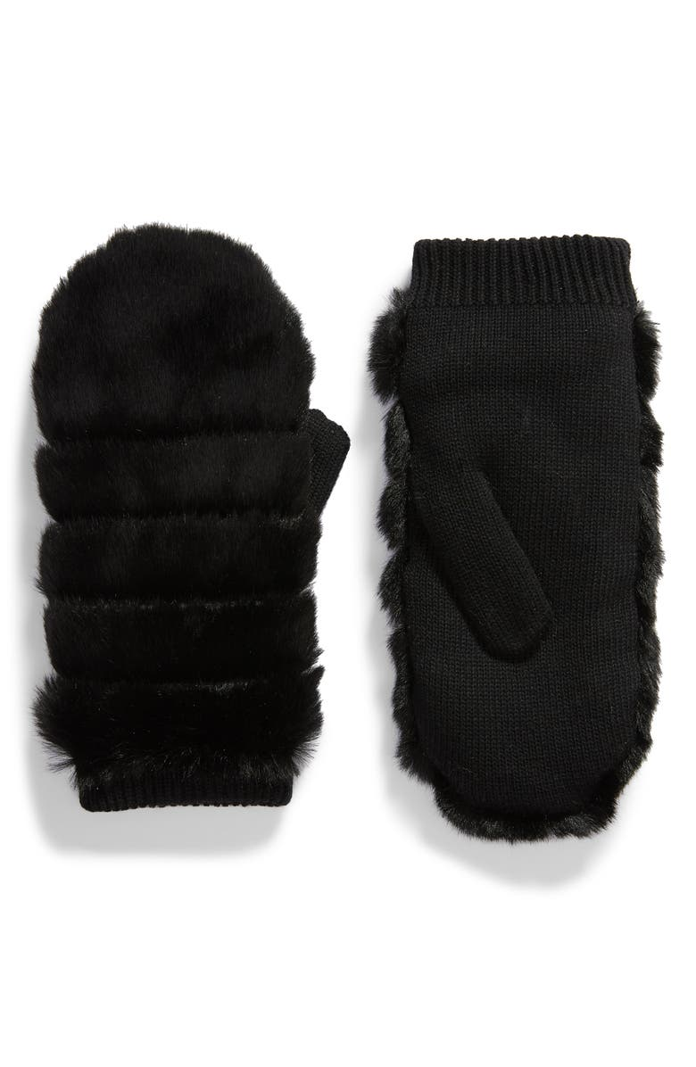 UGG<SUP>®</SUP> Faux Fur Mittens, Main, color, BLACK