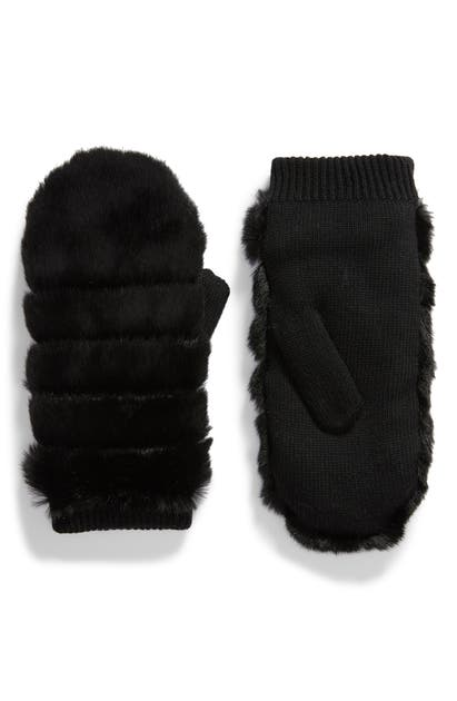 Ugg Faux Fur Mittens In Black