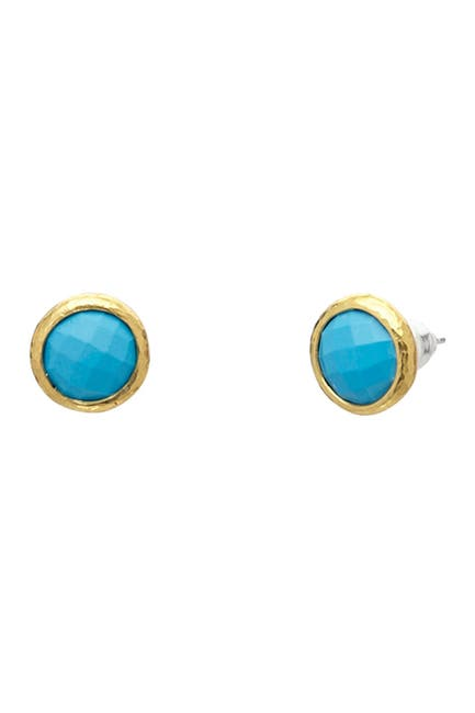 Image of Gurhan Stud Earring With Round Checkerboard Cut Turquoise