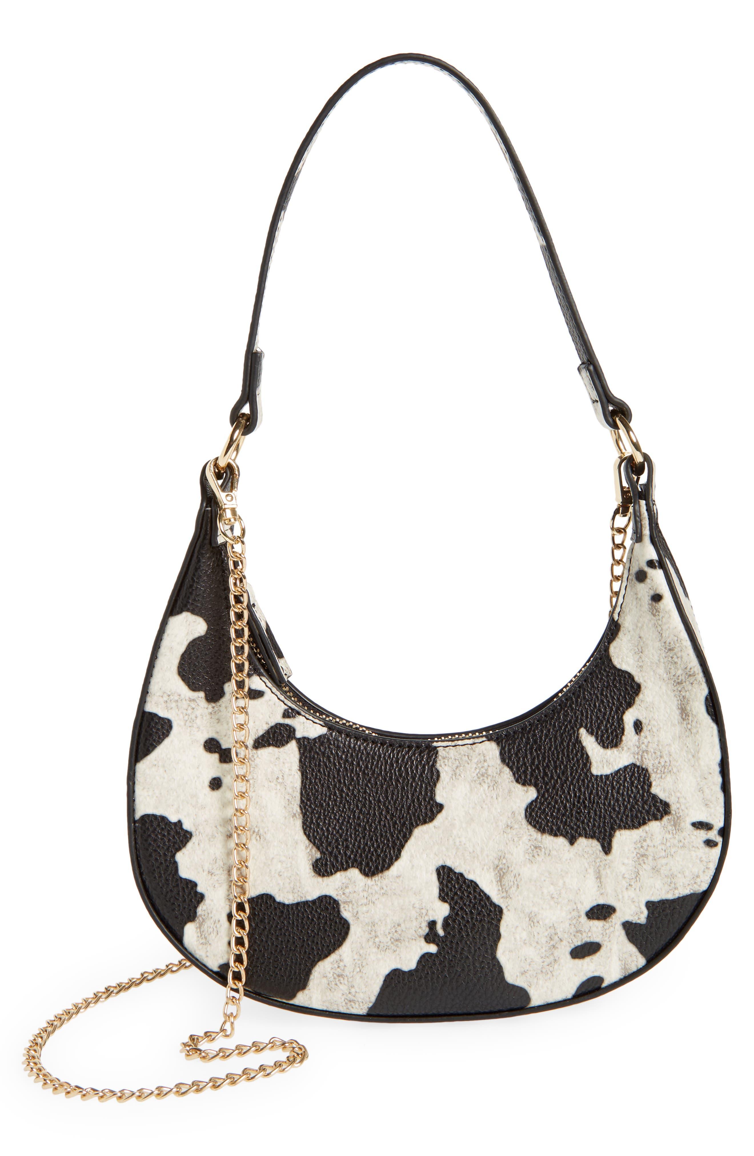 Dara Cow Print Mini Crescent Shoulder Bag