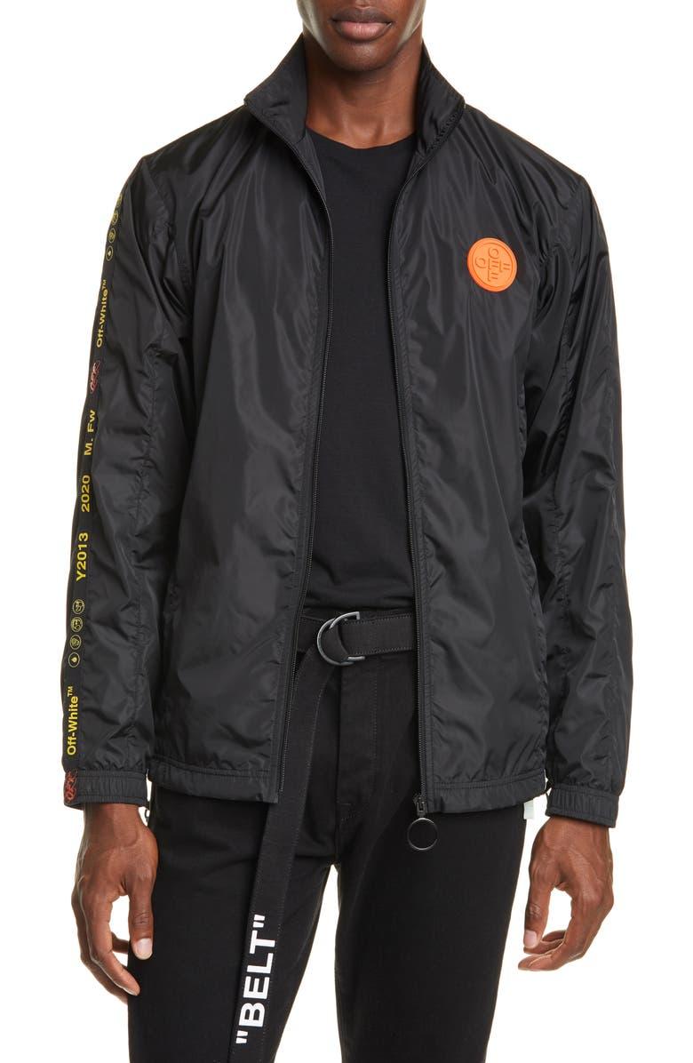 OFF-WHITE Nylon Track Jacket, Main, color, BLACK