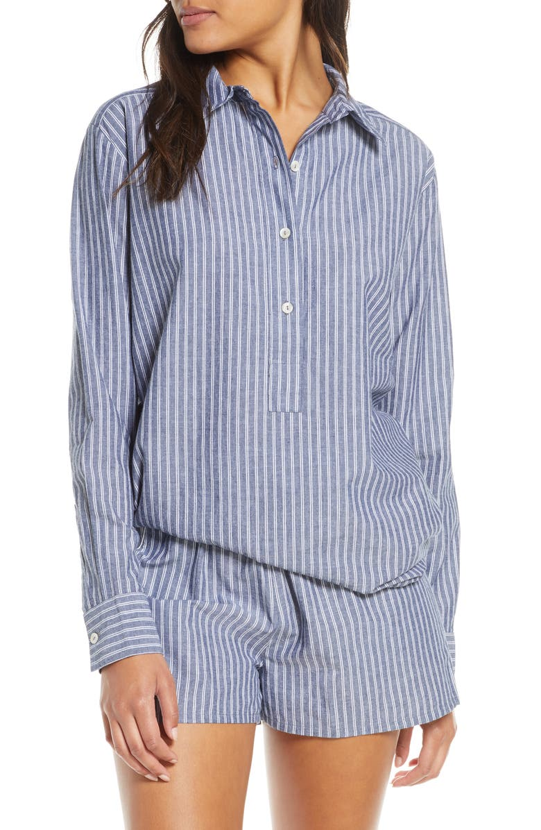NAKED Ethereal Stripe Sleep Shirt, Main, color, NAVY STRIPE