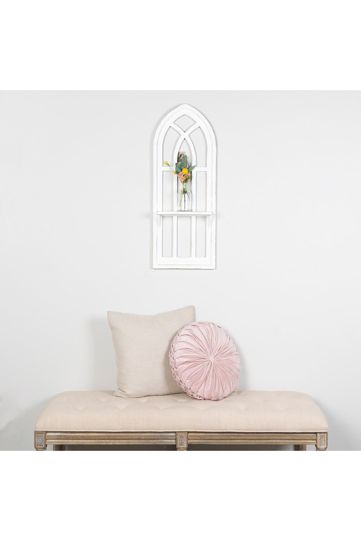 Image of Stratton Home Distressed Window Arch with Shelf Wall Decor