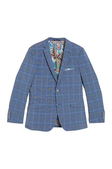 Image of Paisley & Gray Plaid Print Slim Fit Two Button Notch Collar Jacket